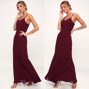 We Belong Together Burgundy Maxi LuLus Dress S